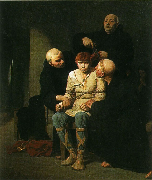 Низложение последнего из Меровингов сопровождалось унизительным для королей этого рода острижением волос. Картина: Эварист Виталь Люмине.
