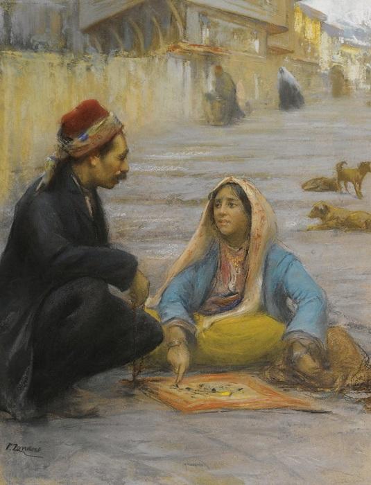 Цыганка, гадающая на камешках турку. Как видим, при случае вместо подноса просто расстилали платок. Картина Фаусто Дзонаро.