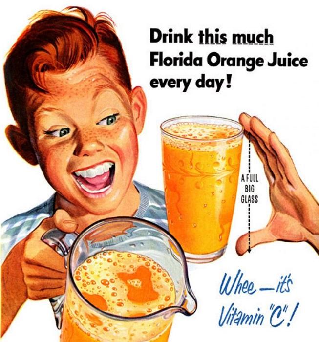 Реклама, призывающая пить побольше апельсинового сока.