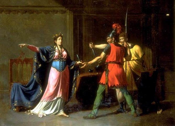 Фредегонда и нанятые ею убийцы соседского короля на картине Эммануэля Уоллета.