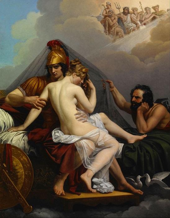 Картина Александра Гильмо, изображающая Гефеста, обнаружившего Афродиту в объятьях Ареса.
