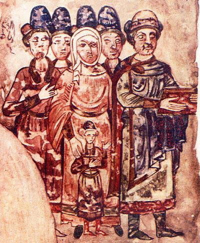 Ода с мужем, сыном и пасынками.