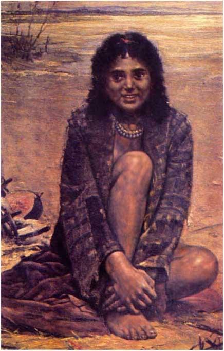 Чтобы цыгане не сбегали, им часто не давали носить нормальную одежду. Поэтому молодая девушка-цыганка, зарисованная Антоном Козакевичем, одета в халат, который даже не подвязан.