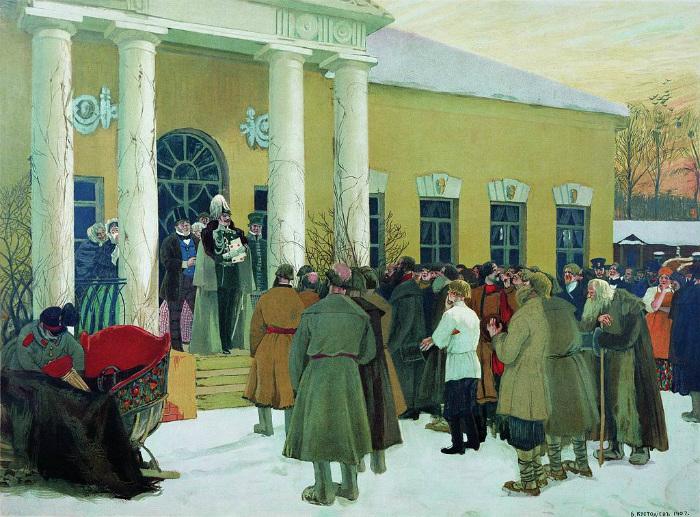 Картина Бориса Кустодиева, посвящённая отмене крепостного права.