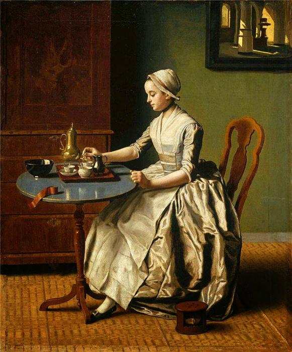Голландская девушка пьёт шоколад на завтрак. Картина Жана-Этьена Лиотара.