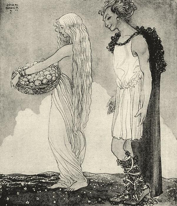 Йон Бауэр. Иллюстрация к мифу о Локи и Идунн.
