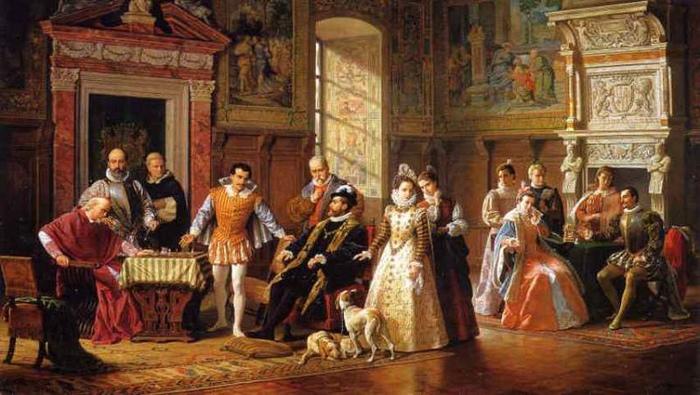 Филипп II устроил первый в мире международный шахматный турнир. Картина Луиджи Муссини.