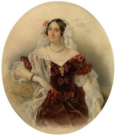 Мария Голицына на акварели Петра Соколова.