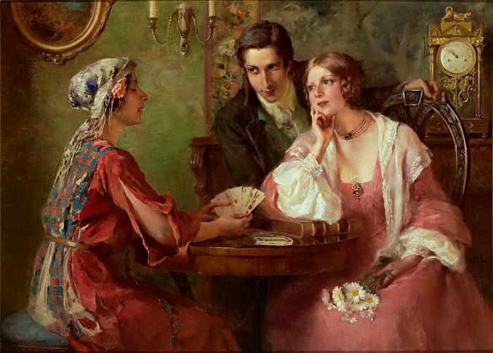 Цыганки восточной Европы предпочитали игральные карты. Картина Отоли Крашевской.