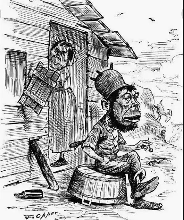 Фенотипические особенности ирландцев представлялись англичанам атавистическими, животными. Типичная карикатура.