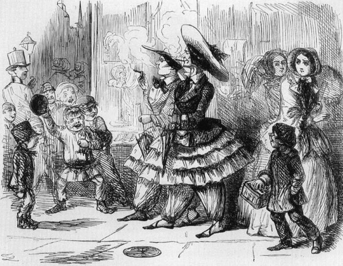Карикатура на женщин в блумерах.
