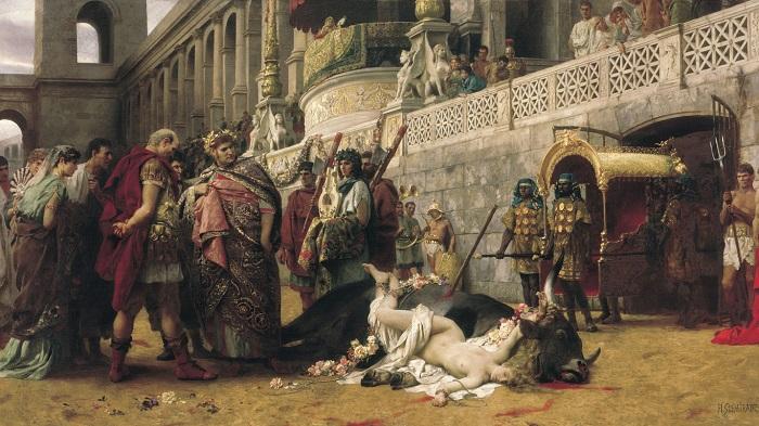 Нерон, рассматривающий казнённую христианку, от Генриха Семирадского.