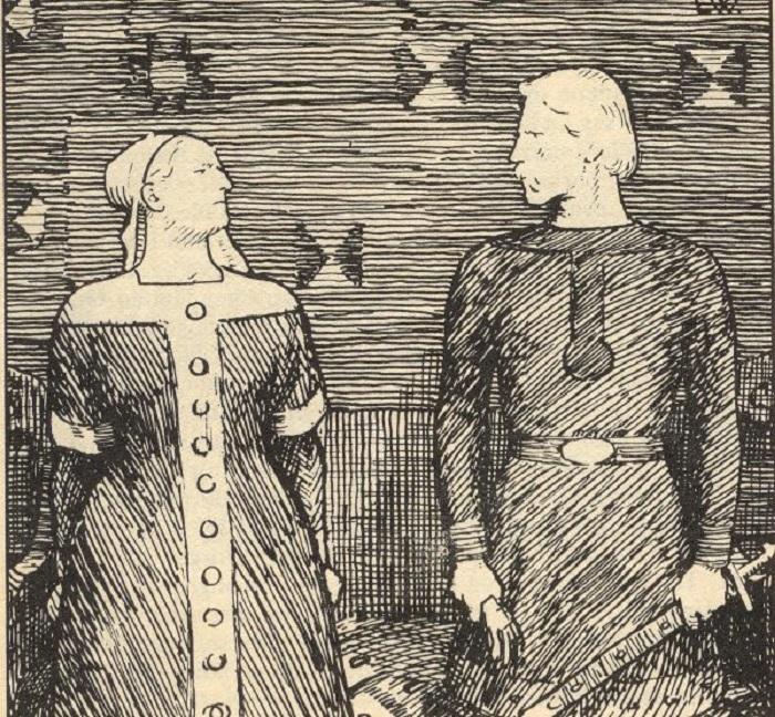 Сигрид-Святослава и Олаф Трюгвассон, рисунок Эрика Вереншёлля.