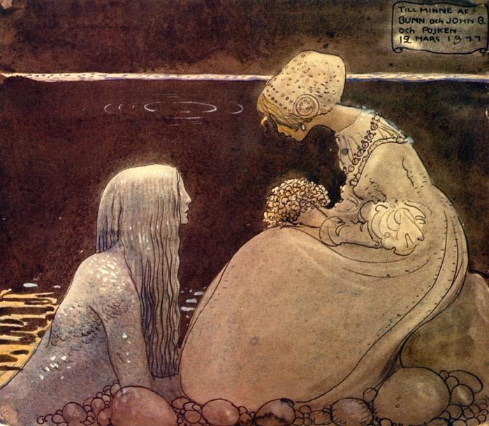 Йон Бауэр. Иллюстрация к сказке «Агнета и Морской Король».