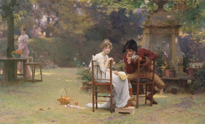 Даже при самом непринуждённом и уединённом на первый взгляд разговоре девушки и юноши присутствовали наблюдатели. Картина Маркуса Стоуна.