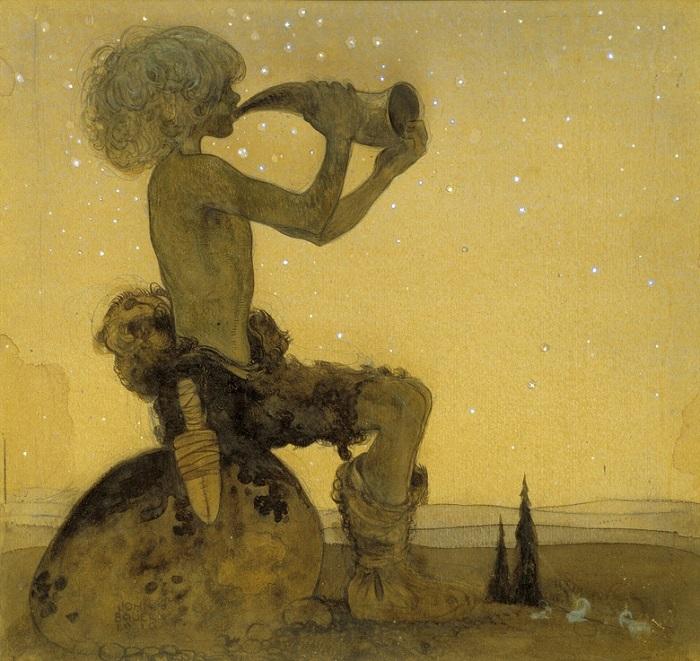 Йон Бауэр. Иллюстрация к сказке «Волшебный пастух».