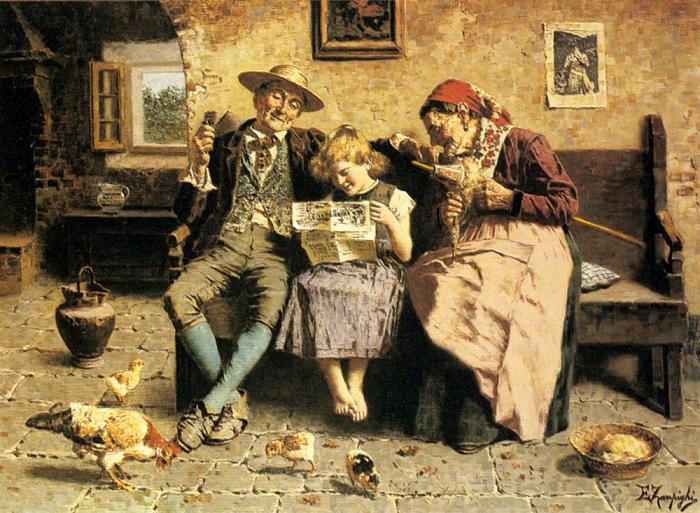 Вместо радио люди прошлого использовали грамотных детей и газету, и интересовались они не только новостями, но и, например, перебранкой двух местных дам. Картина Эухенио Сампиги.