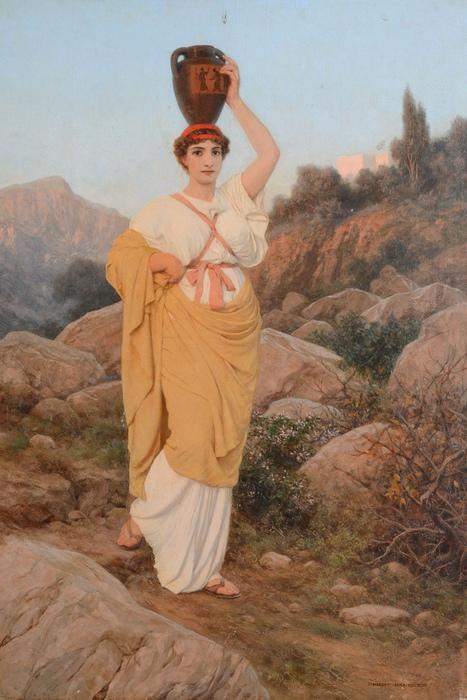 Хотя юноши и девушки в Древней Греции тайно наблюдали друг за другом, поговорить им было сложно. Картина Стефана Бакаловича.