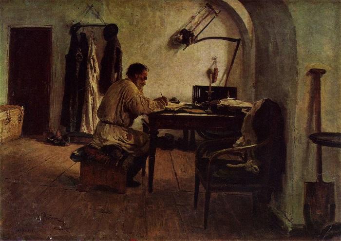 Репин обожал Толстого и оставил множество его портретов.
