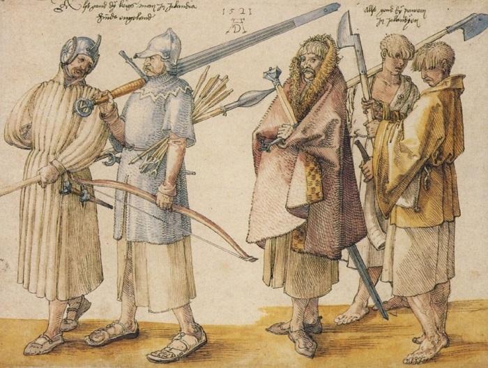 Ирландские наёмники эпохи Возрождения. Рисунок Альбрехта Дюрера.