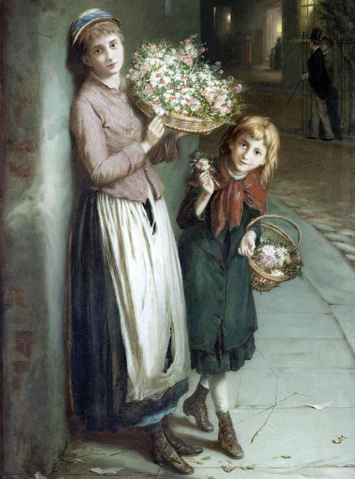 Многие лоточницы на английских улицах были ирландскими девочками. Картина Августуса Эдвина Малреди.