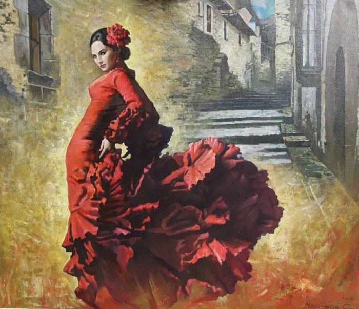 На сцене танцовщицы фламенко долго предпочитали красный цвет, чтобы подчеркнуть пламенность танцы. Картина Сергея Меренкова.