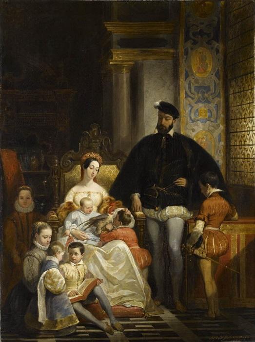 Педро Гонсалеса, он же Петрус Гонсалвус, нет на этой картине, но он рос вместе с французскими принцами и принцессой. Художник Альфред Жоанно.