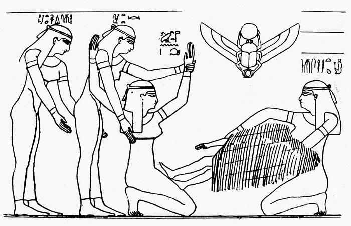 Рисунок с древнеегипетского барельефа, изображающего процесс родов.