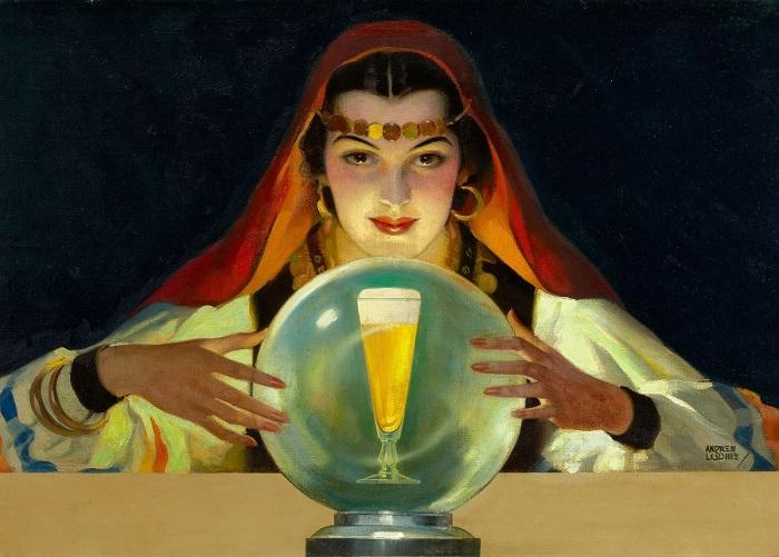Легче всего предсказывать ближайшее будущее любителям выпить. Картина Эндрю Лумиса.