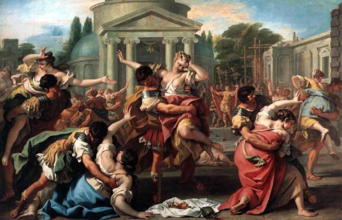 По легенде, семейная жизнь в Древнем Риме началась с похищения и изнасилования воинами Ромула девушек из племени сабинян. Картина Себастьяна Риччи