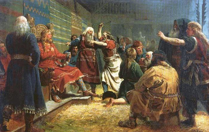 У предков англичан и норвежцев были сложные отношения. Норвежский король Хакон Добрый, например, был воспитан английским королём. Картина Петера Арбо.