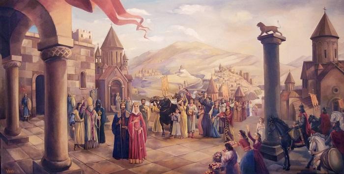 Знатные армяне и византийцы постоянно влияли друг на друга в культурном плане. Рисунок Г.В.Бабаяна.