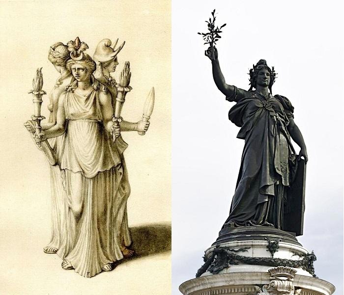 Изображение одной из статуй Гекаты. На одной из голов Гекаты такой же колпак, как и на статуе, изображающей освобождённую Францию.