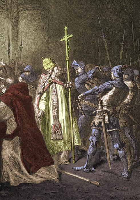 Рисунок XIX века, изображающий пощёчину Бонифацию.