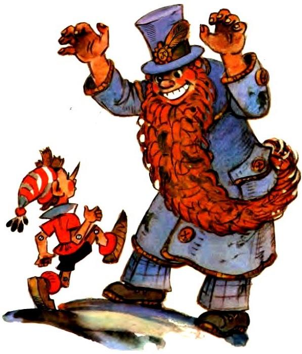 Длинный шарф Мейерхольда Толстой превратил в такую же длинную бороду Карабаса Барабаса. Иллюстрация Леонида Владимирского.