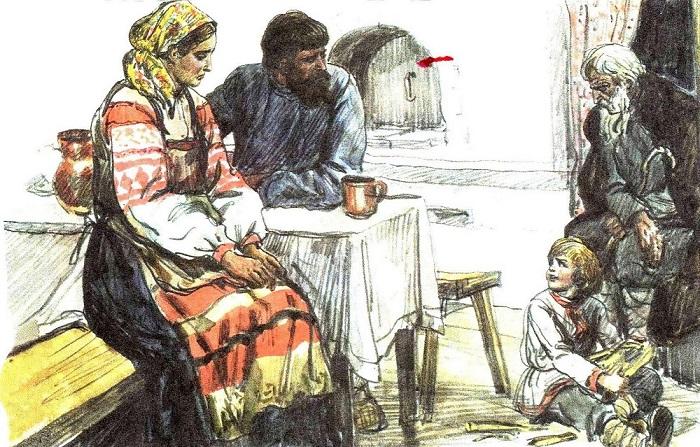 Иллюстрация к басне Толстого *Старый дед и внучек*.