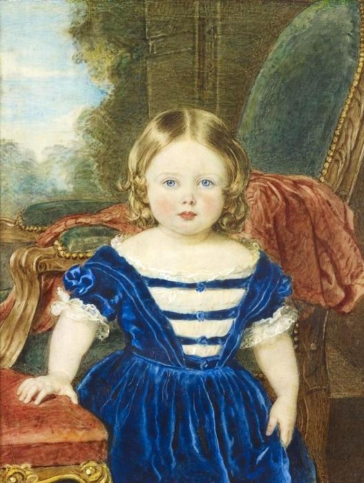 Маленькой принцессе Виктории приходилось постоянно убегать, чтобы поплакать, потому что она часто злилась и не могла совладать с собой в этот момент. Портрет работы сэра Уильяма Чарльза Росса.