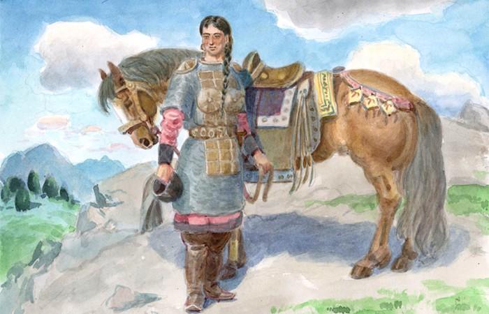 Дева-богатырша на рисунке М.Чевалкова