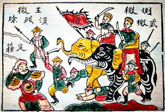 Вьетнамский лубок, на котором сёстры Чак и Ньи прогоняют китайского наместника