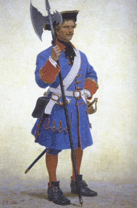 Форма полицейского петровских времён включала короткие штанишки