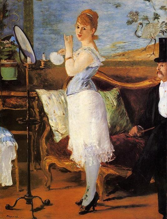 Вопреки мифу, большую часть историю корсеты не должны были сделать женщину визуально худее: под затянутой талией располагался круглый объёмный живот, куда перемещалось то, что не уместилось в корсете. Художник Эдуард Мане.