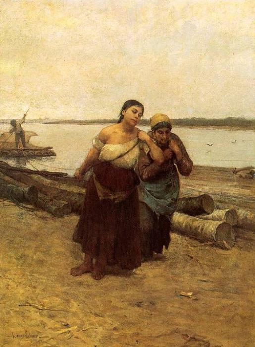 В Венгрии в бурлачки обычно шли цыганки. Картина Лаёша Деак-Эбнера.