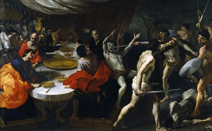 Картина Джованни Лафранко изображает гладиаторов, развлекающих боем римлян на пиру.