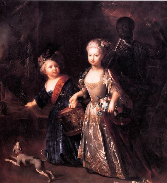 Детский портрет Фридриха с сестрой и слугой авторства Антуана Песне.