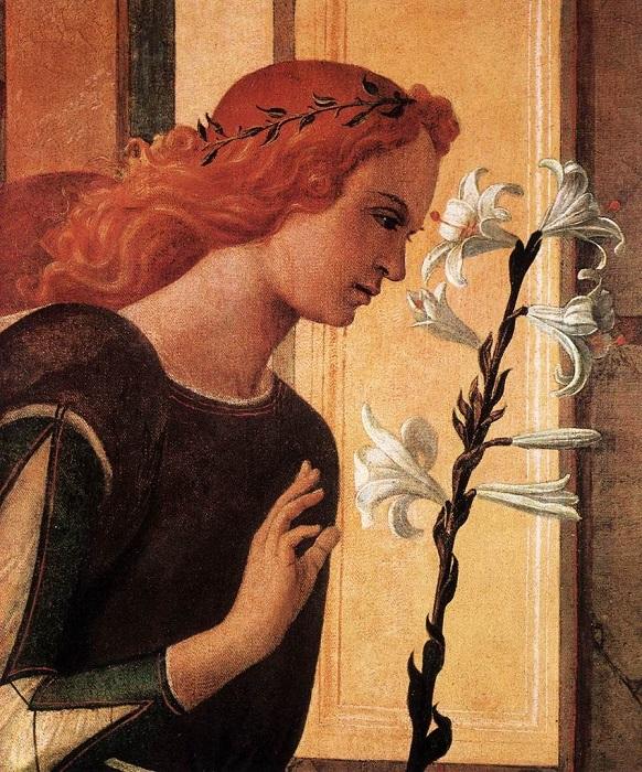 Белая лилия может обозначать Богоматерь, а может указать, что персонаж так же безгрешен. Фрагмент картины Ботичелли.