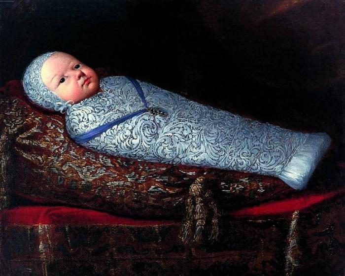 Как легко угадать по голубым пелёнкам и синей ленточке, это — портрет дочери Филиппа III. Русский читатель её хорошо знает как королеву Анну из «Трёх мушкетёров»