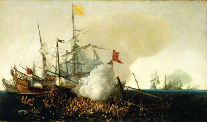 Испанские корабли сражаются с берберийскими корсарами. Картина: Корнелис Хендрикс Вром.