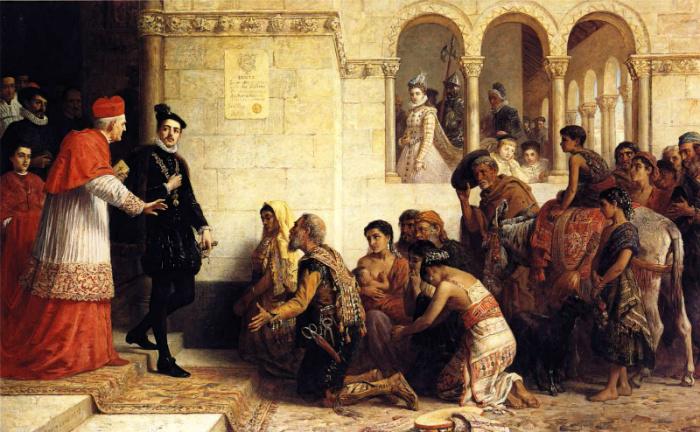 Изгнание цыган из Испании. Картина: Эдвин Лонгсден Лонг.