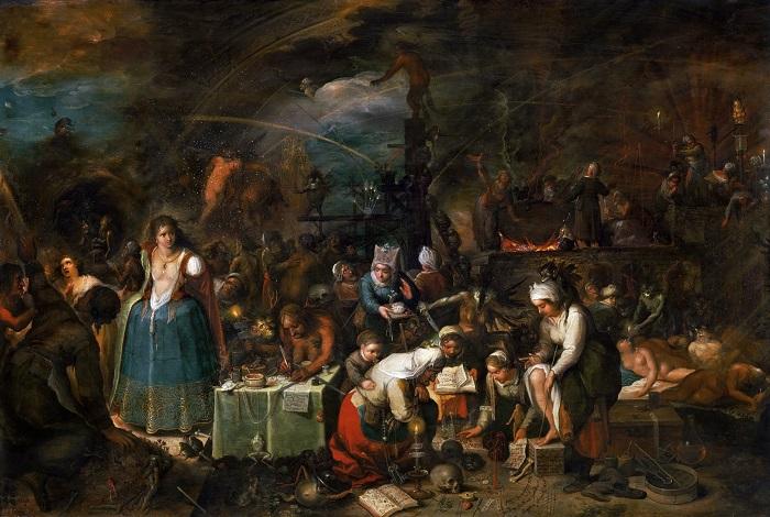 Интересно, что одним из непотребств на шабаше считалось демонстративное попрание общественной иерархии: ведьмы из разных социальных слоёв общались на равных. Картина Франса Франкена.