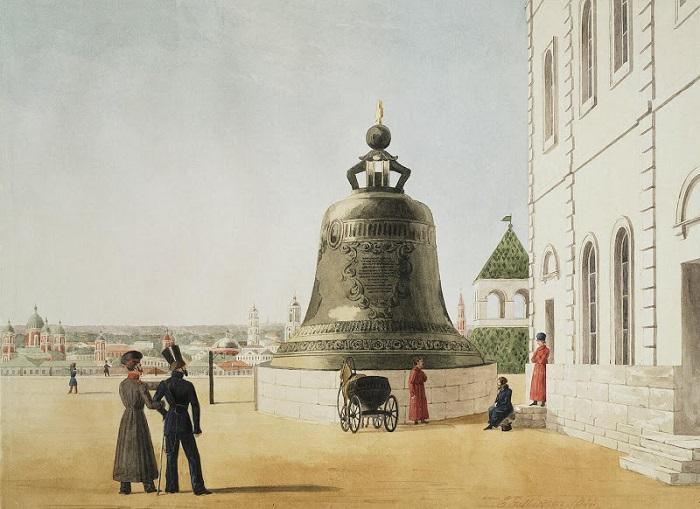 Художник XIX века тактично изобразил колокол с целой стороны. Акварель Гилбертсона.
